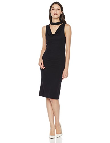Mariella Bella Women's Sleeveless Knit Fit Choker Dress With Cowl Neck