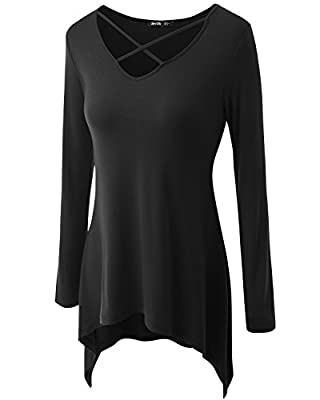 Women's Sexy Criss Cross Neck Casual Loose T-Shirt Tunic Top