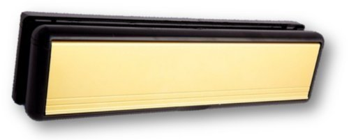 Welseal HS3747 10-Inch UPVC Door Letterbox Letter Plate Mid Rail - Polished Gold/Black