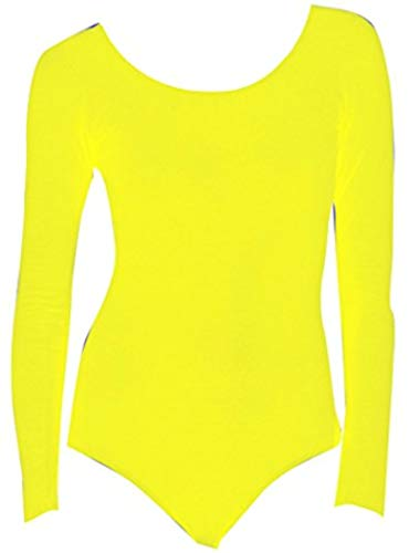 DanceNwear Long Sleeve Nylon/lycra Leotards (3X, Bright Yellow) ()