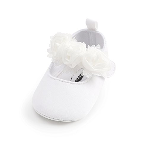 (Isbasic Baby Boys Girls Flat Shoes Toddler Soft Sole Mary Jane Pincess Christening Baptism Crib Shoes (0-6 Months, Cotton White))