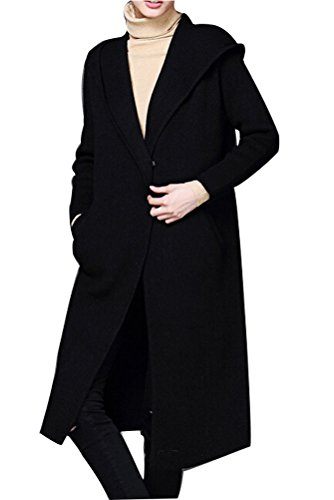 Long Black Sweater Coat - 1