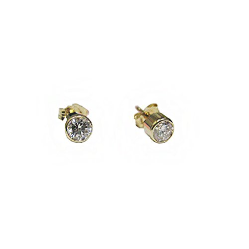 0.85CT Round Cut Diamond Stud Earrings F SI 14K Yellow Gold ()