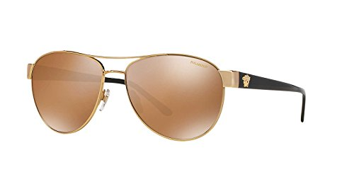 Versace Womens Only At Sunglass Hut Sunglasses (VE2145) Gold/Gold Metal - Polarized - - Sunglass Hut Sunglasses