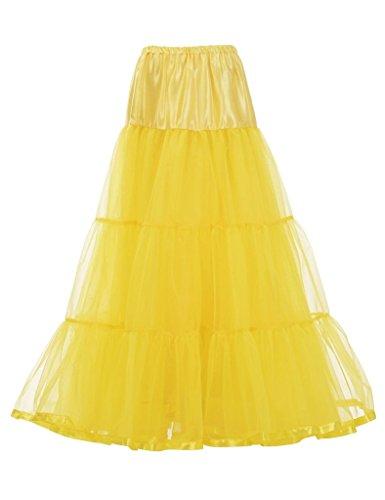 DaisyFormals Tobillo Largo Retro Enagua tul niña 50s Vintage Rockabilly Tutu falda, 100cm Longitud(FBA de color específico) Yellow