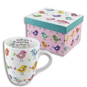 Beautiful Ceramic BIRD Coffee MUG with SCRIPTURE - PSALM 103:5 HE Fills My Life With Good Things w/COLORFUL Matching GIFT BOX Cup LATTE Tea