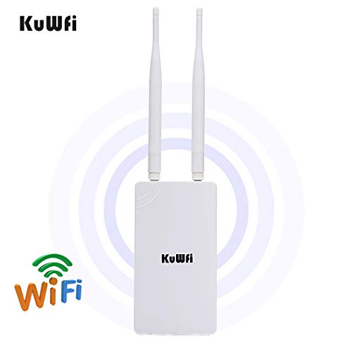 KuWFi 300Mbps High Power 2.4GHz WiFi Signal Extender High-Performance Wide-Area Wi-Fi Indoor Outdoor WiFi Repeater Including POE Adapter