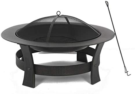 Garden Treasures 35-in W Black High Temperature Painted Steel Wood-Burning Fire Pit