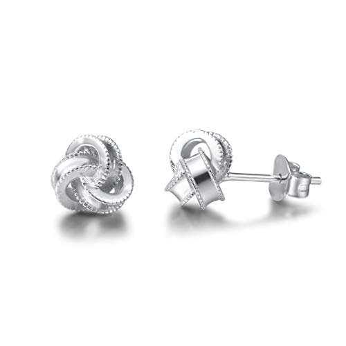 FANCIME White Gold Plated 925 Sterling Silver Hypoallergenic Love Knot Small Stud Earrings Fine Jewelry For Women Girls, Size 8mm