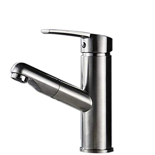 Commercial Stainless Steel Single Lever Single Handle Pull Out Sprayer Prep Kitchen Sink Faucets, Brushed Nickel Finished - Lever Handle Pull Out Sprayer