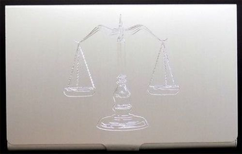 SCALES OF JUSTICE Engraved Business Credit Card Case Patch Holder Gift (Bus Card Case)