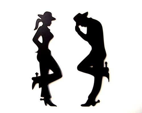 (Cheap Plastic Cowgirl and Cowboy Western Rustic Decor Wall Decor Rustic Art Western Art)