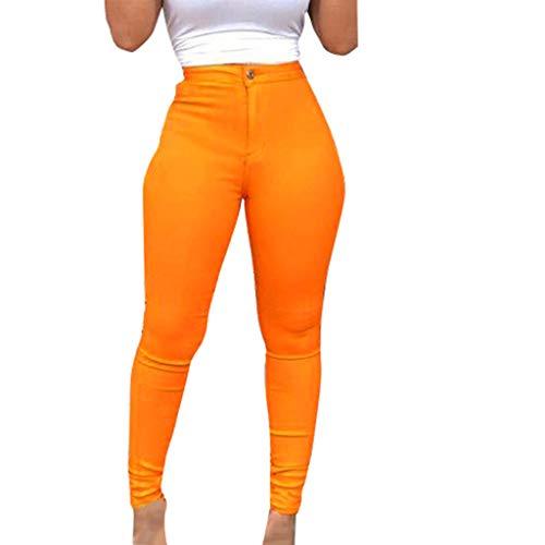 - Dainzuy Women's Jean Jeggings Tights Slimming Leggings Pants Women Butt Lift Button High Waist Stretch Denim Skinny Jeans Orange