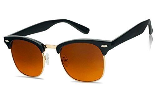 SunglassUP Classic Semi Rimless Blue Light Blocking Horn Rimmed Blocker Sunglasses (Black | Gold, - Blocking Blue Sunglasses Light