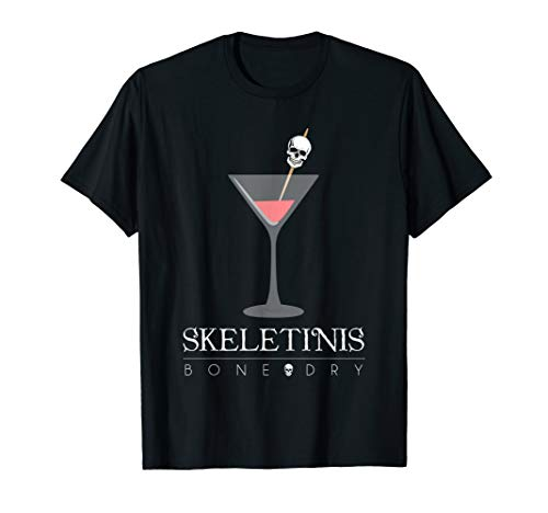 Skeletinis Bone Dry Shirt, Funny Cute Halloween Martini Gift -