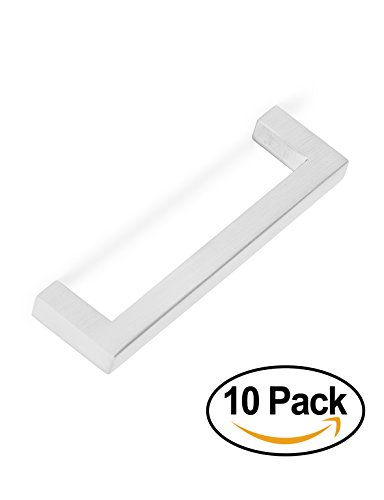 BirdRock Home Square Contemporary Handle | Brushed Nickel | 10 Pack | 3.75 Inch Kitchen Cupboard Furniture Cabinet Hardware Drawer Dresser Pull Trad