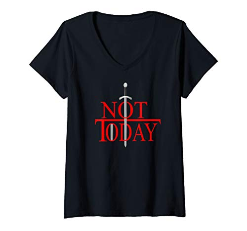 Womens Not Today What Do We Say To The God Of Death?Funny Christmas V-Neck T-Shirt (Heather Death 2019 Christmas Black)