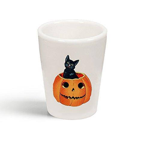 Style In Print Pumpkin And Black Cat Ceramic Shot Glass Cup ()