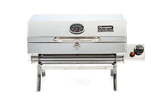 Camco-Olympian-5500-Stainless-Steel-Portable-Gas-Grill-Connects-To-Low-Pressure-Supply-On-RV-Includes-RV-Mounting-Bracket-And-Folding-Tabletop-Legs-180-57305
