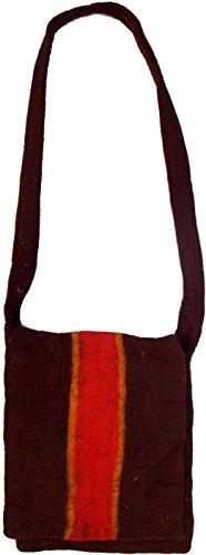 Guru-Shop Filz-Tasche `Retro`, Herren/Damen, Braun, Wolle, Size:One Size, 38x30x4 cm, Handtasche, Einkaufstasche, Schultertasche Handarbeit