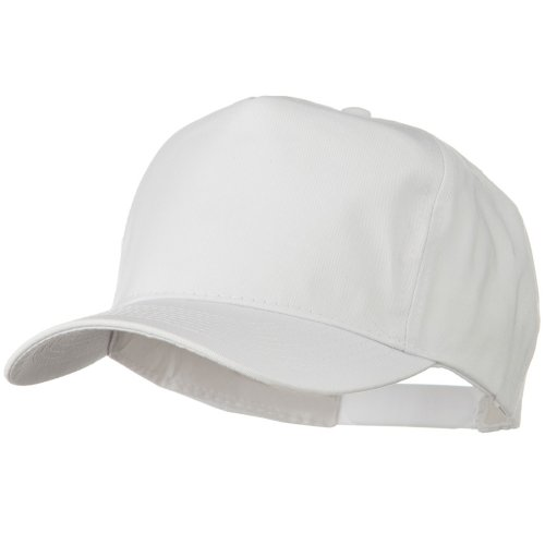 Solid Cotton Twill Pro style Golf Cap - White (Cap Twill Cotton Panel Golf)