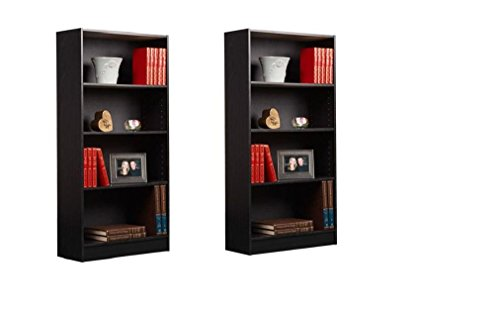 Complementing Orion 4-Shelf Bookcases, Set of 2 Your Color Choice Ideal for Your Books And Can Fit Organizer Bins For Added Style (Black and Oak)