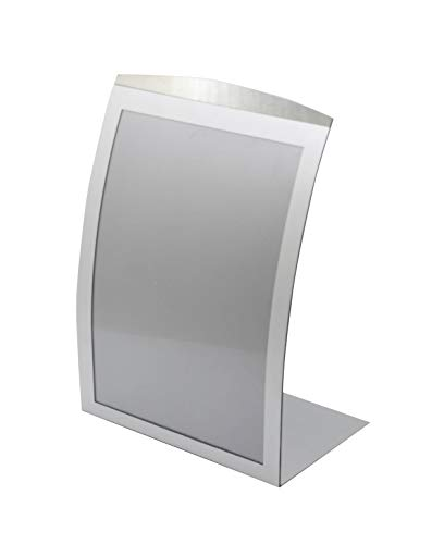 8.5 x 11 Sign Holder for Tabletop, with Magnetic Lens, Curved - Silver 19124