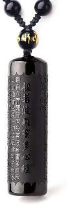 Collar colgante Sutra de Buda en obsidiana negra Cordon (con perla)