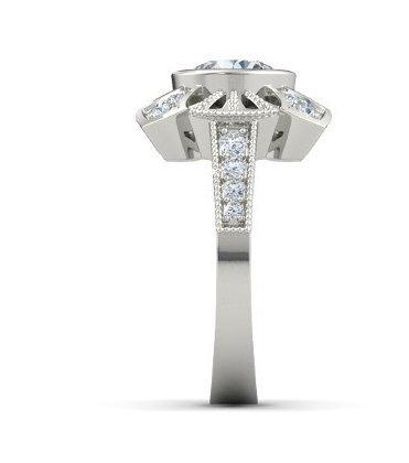 Gowe Luxe 1,5ct Esdomera moissanites Bijoux en or massif 9ct or blanc Bague de fiançailles Couleur F Lab Cultivées Diamant