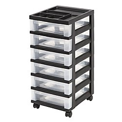 Office Depot Medium Plastic Storage Cart, 6 Drawers, 26 7/16in.H x 12 1/16in.W x 14 1/4in.D, Black, 116815 by Office Depot