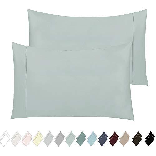 California Design Den 400 Thread Count 100% Cotton Pillow Cases, Mod Spa Standard Pillowcase Set of 2, Long - Staple Combed Pure Natural Cotton Pillowcase, Soft & Silky Sateen Weave