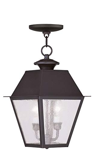 Livex Lighting 2167-07 Mansfield - Two Light Outdoor Hanging Lantern, Bronze Finish with Seeded Glass