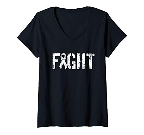 Womens Fight Lung Cancer - Military Style Awareness Ribbon  V-Neck T-Shirt -