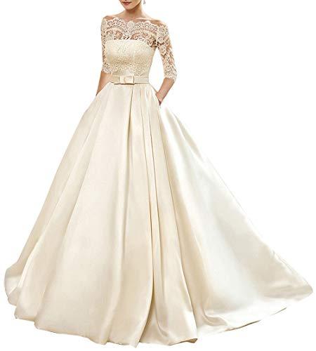Women's A-line Vintage Sweetheart Lace Appliqued Bridal Gowns Wedding Dresses Plus Size Ivory