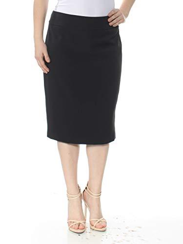 Kasper Women's Stretch Crepe Slim Yoke Skirt, Black, 12