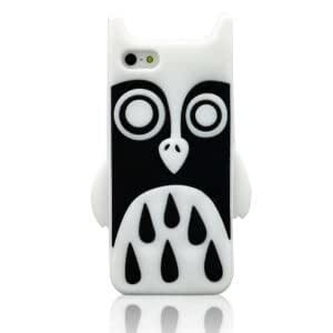 JBG White Owl iphone 5 Lovely 3D Cartoon Animal Soft Silicone Rubber Case Protective Cover Skin for Apple iPhone 5 5G 5th