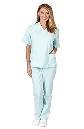 Women's Scrub Set - Medical Scrub Top and Pant, Aqua, XX-Small