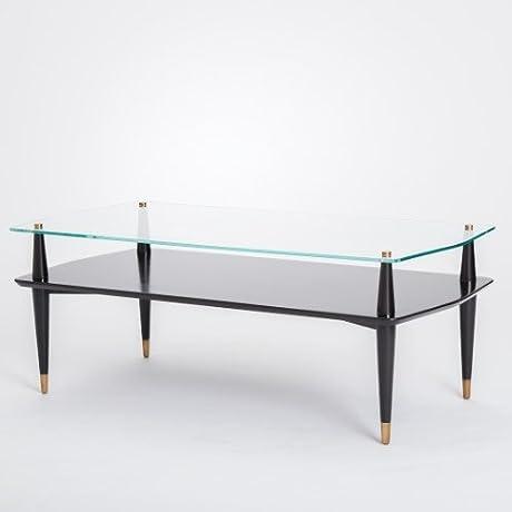 Elegant Black Taper Leg Display Case Coffee Table Shelf Glass Top Gold Ebony