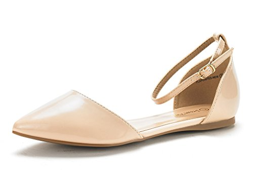 DREAM PAIRS Women's FLAPOINTED-New Nude Pat D'Orsay Ballet Flats Shoes - 11 M (Summer Ballerina)
