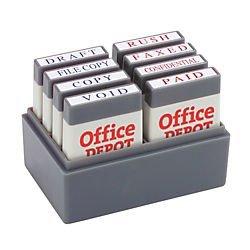 Office Depot Mini Message Stamp Kit, Blue/Red Ink, 032542 (Message Stamp Kit)