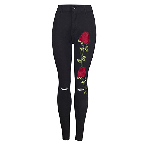 Mujer Apliques Bordado Floral Lápiz Estiramiento Cintura Alta Rasgado Pantalones Black