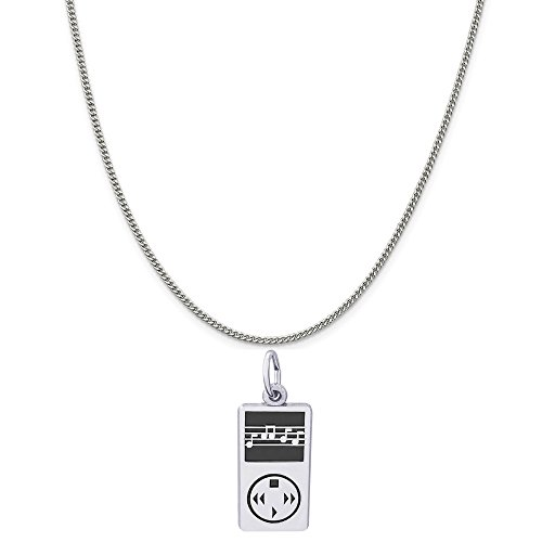 rling Silver MP3 Player Charm on a Sterling Silver Curb Chain Necklace, 20