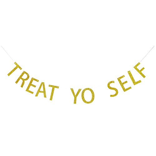 TREAT YO SELF Gold Glitter Banner | Tea Party Banner | Candy Bar | Treat Table Banner | Sweets Smores Bar | Wedding Snack Bar | Wedding Reception Dessert Tables Decor