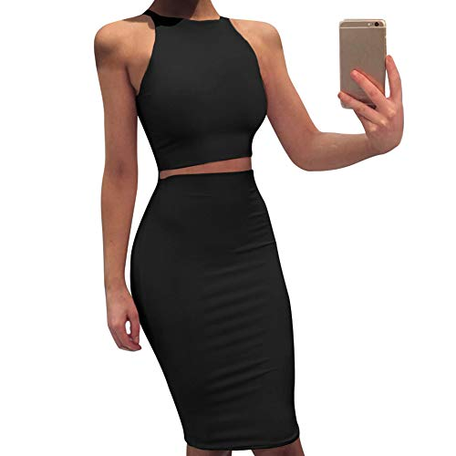Antopmen Women Sexy Round Neck Sleeveless Tank Top High Waist Skirt Outfit Two Piece Bodycon Bandage Dress (Medium, Black) ()