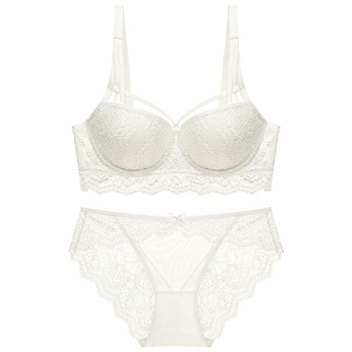 Varsbaby Women's Push Up Padded Lace Seduction Underwire Molded Demi Bra (V426DH,38B, White1) ()