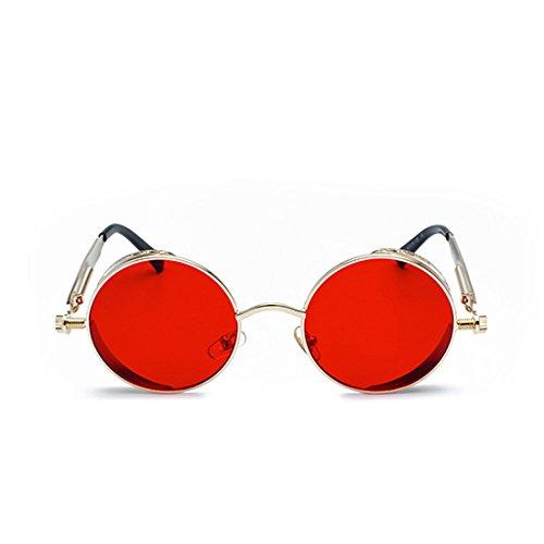 Lentille Lunettes Mode Cercle Océan Soleil Couleur Vintage De Rétro Doré Métallique Rouge Cadre Muchao tqdwvq