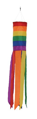 In the Breeze Rainbow Column - 24 Inch Windsock - Colorful Hanging Decoration - Red, Orange, Yellow, Green, Blue, Purple ()