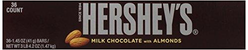 034000002412 - HERSHEY'S Chocolate Bar with Almonds, Milk Chocolate Candy Bar with Almonds, 1.45 Ounce Bar (Pack of 36) carousel main 7