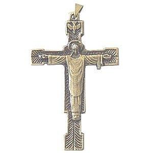 Christ Redeemer-the High Priest crucifix - Bronze (6.5cm or (Heart Rosary Crucifix)