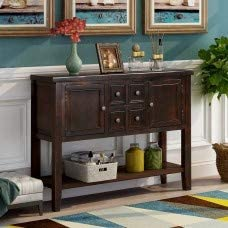 Wood Console Sofa Table with Storage Drawers and Bottom Shelf, WeYoung Console Tables for Entryway for Living Room Espresso